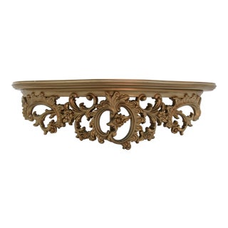 1960s Hollywood Regency Ornate Wall Shelf For Sale