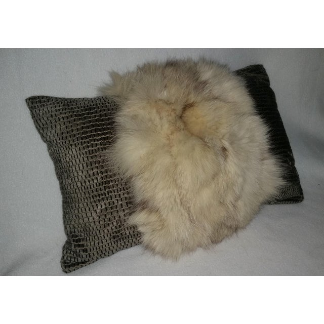 Great Accent Pillow! This white fox and silvery moss green velvet woven with black and a thread of gold is part of our new...