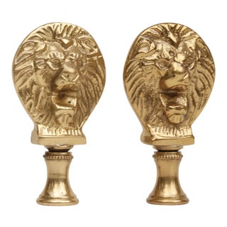 Solid Brass Lion's Head Finials - A Pair For Sale