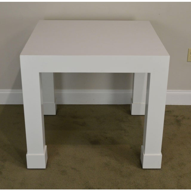 White Lacquer Mid Century Square Parsons Game Table For Sale - Image 4 of 12