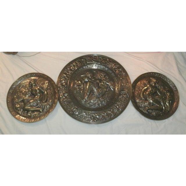 Hand Embossed Greek Mythology Wall Art Discs - Set of 3 For Sale - Image 13 of 13