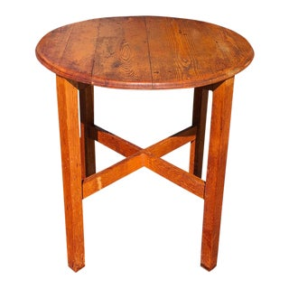1910s Arts & Crafts Mission Oak Round Center Table For Sale