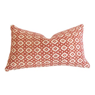 Woven Red & Cream Boho Lumbar Pillow Cover 12x21 For Sale