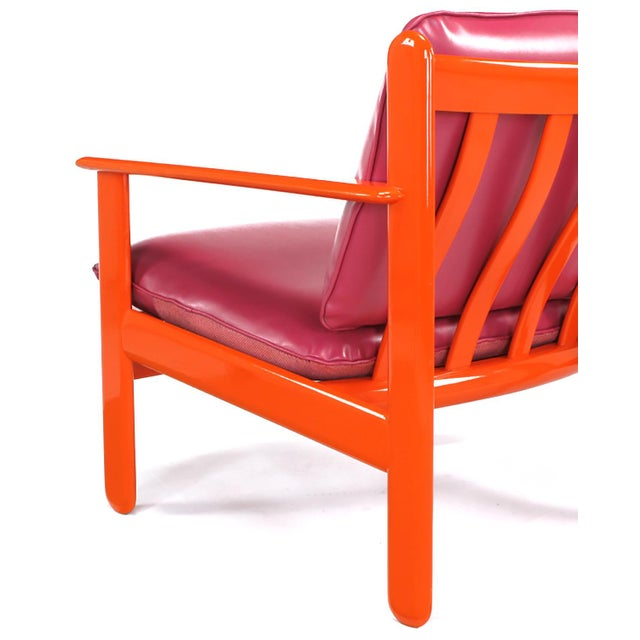 Pair of Italian Persimmon and Magenta Lounge Chairs For Sale - Image 9 of 10