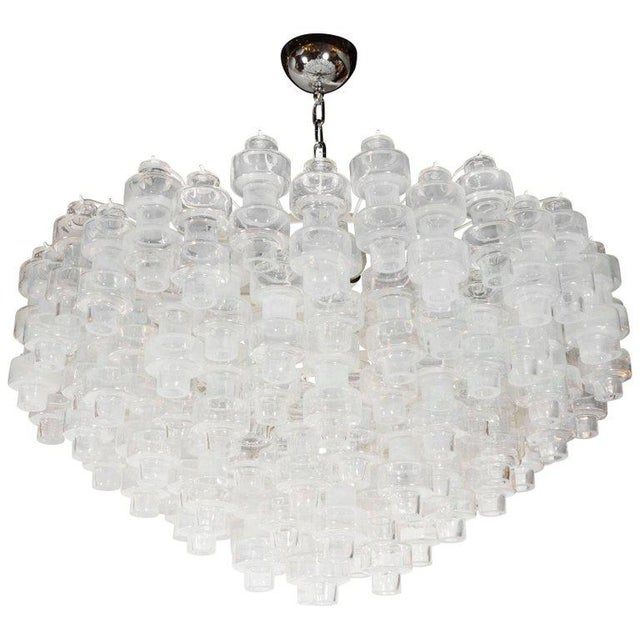 Modernist Opalescent and Clear Murano Glass Barbell Chandelier For Sale - Image 10 of 10
