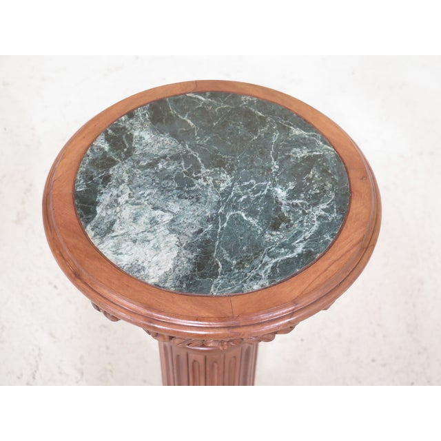 Item: Marble Top Round Column Pedestal Stand Age: Approx: 20 Years Old Details: Quality Construction Nice Decorative Pedestal