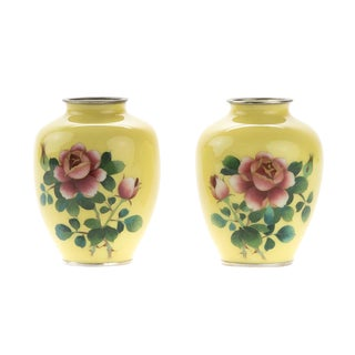 Beautiful Japanese Yellow Cloisonné Vases -a pair c.1940s For Sale