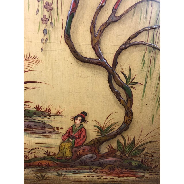 Antique Chinoiserie Writing Desk With Fold-Down Writing Surface For Sale - Image 10 of 12