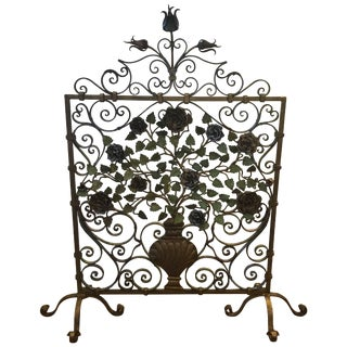 20th Century Italian Iron and Tole Fire Screen For Sale