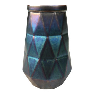 Modern Iridescent Green & Purple Geometric Vase