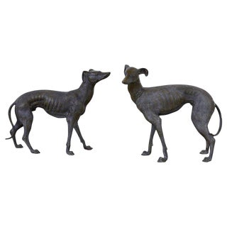 Pair of Bronze Whippets or Greyhound Dog Sculptures For Sale