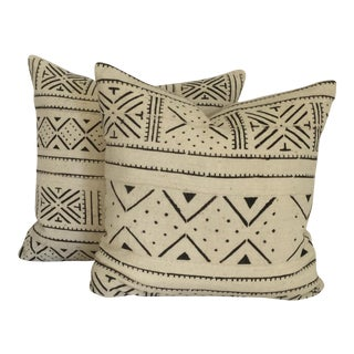 Vintage African White Mudcloth Pillows - A Pair For Sale
