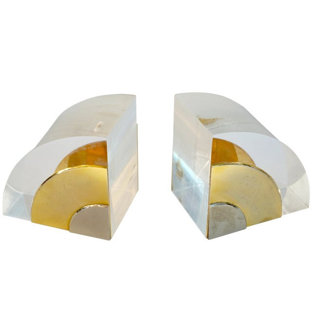 1970 Italian Brass Nickel Lucite Bookends - a Pair For Sale