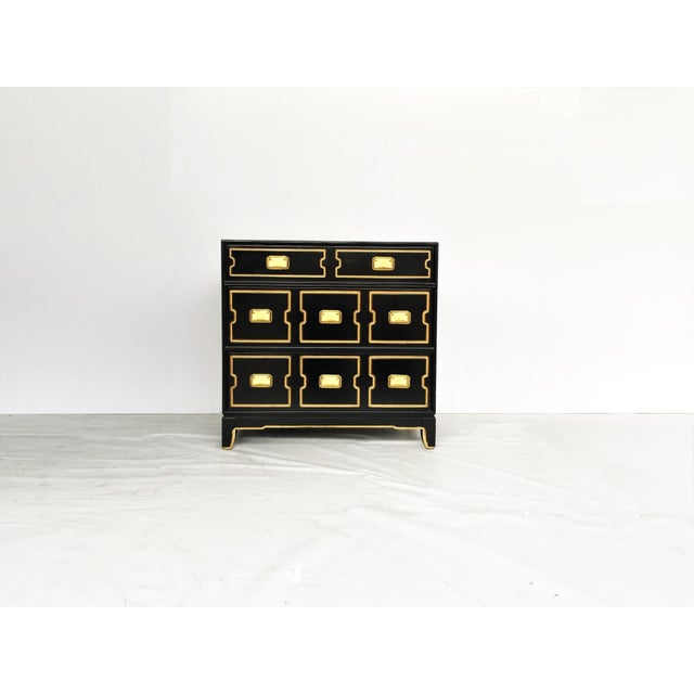 Hollywood Regency Vintage Black and Gold Dorothy Draper Style Chest For Sale - Image 3 of 11