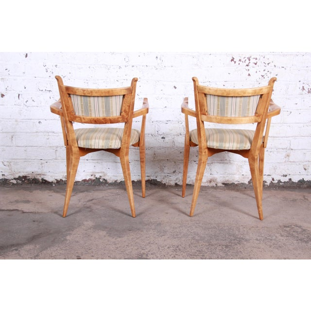 Edmond Spence Swedish Modern Sculpted Tiger Maple Armchairs - a Pair For Sale In South Bend - Image 6 of 13