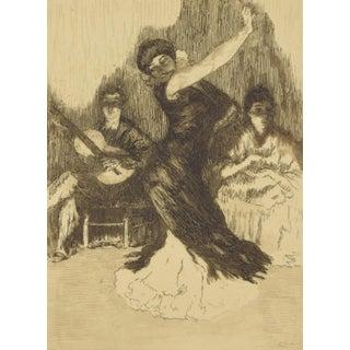 ALEXANDRE LUNOIS – Flamenca Dancer Beaux Arts Edition Etching 1912 For Sale