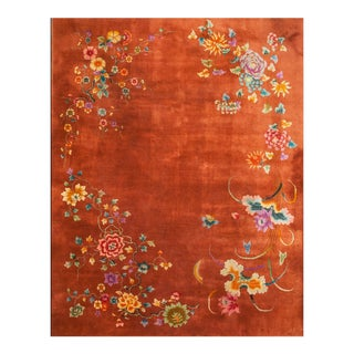 "1920s Antique Chinese Art Deco Rug-9'0"" X 11'6"" For Sale"