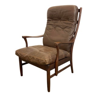 1960s Vintage Ladder Back Leather Arm Chair For Sale