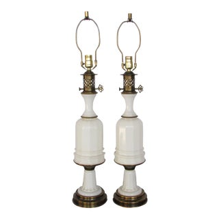 1950s Paul Hanson White Opaline Glass and Brass Table Lamps - a Pair For Sale