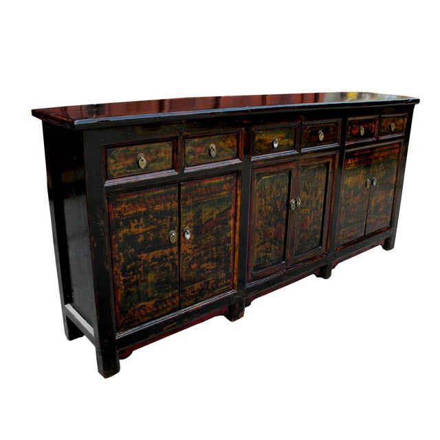 Asian 1910s Asian Antique Green Qinghai Sideboard For Sale - Image 3 of 13