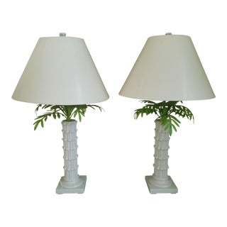 Italian Tole and Blanc De Chine Bamboo Lamps - a Pair For Sale