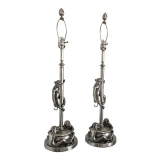 Silver Tone Climbing Monkey Lamps - a Pair For Sale