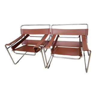 1970s Wassily Chrome Frame Chairs- A Pair For Sale