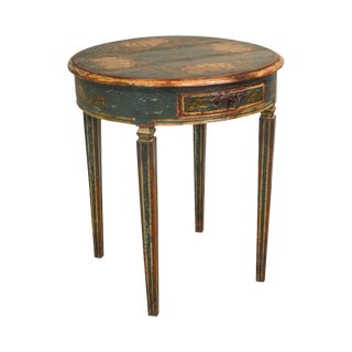 Continental Style Rustic Hand Painted Round Side Table