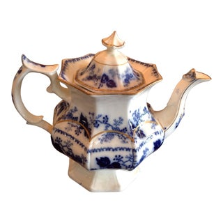 Flow Blue Tea Pot With Gold Accents For Sale