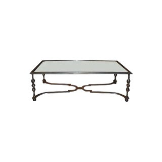 Wrought Iron and Antiqued Mirrored Top Coffee Table For Sale
