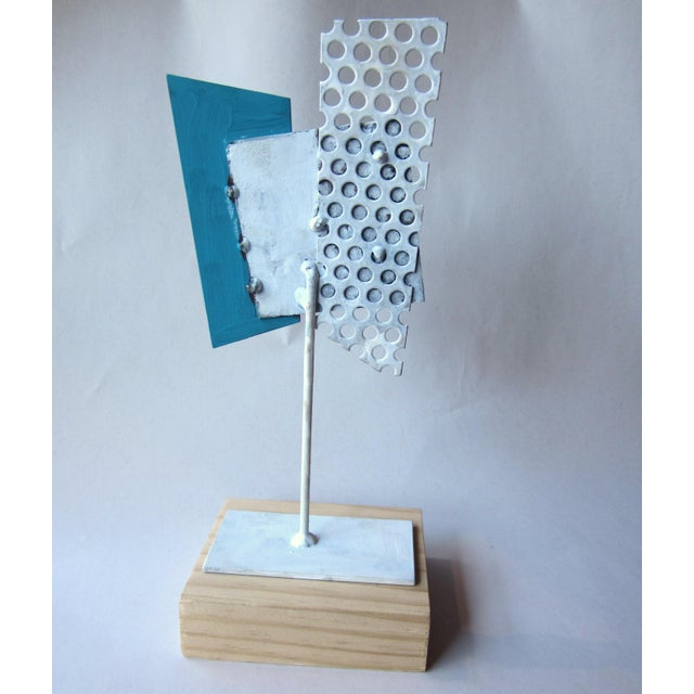 Abstract 1980s Postmodern Perforated Metal Painted Abstract Sculpture For Sale - Image 3 of 6