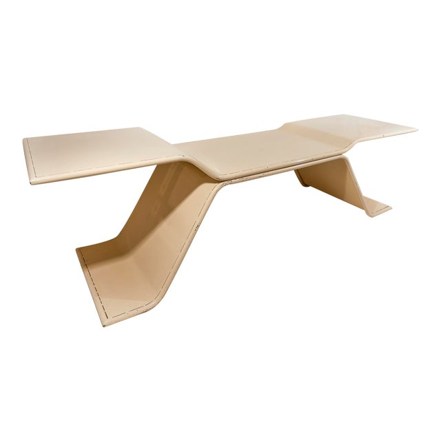 1970 French Pale Cream Enamelled Metal Architects Table For Sale