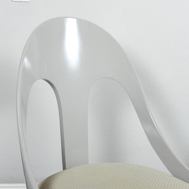 Custom Contemporary Grey Arched Chairs - Pair - Image 7 of 8