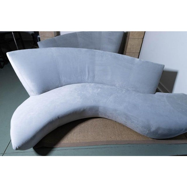 Cornflower Blue Late 20th Century Vladimir Kagan Bilbao Serpentine Sofas- a Pair For Sale - Image 8 of 11