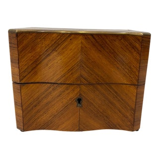 19th C. Cross Banded Mahogany Box W/ Brass Inlay For Sale