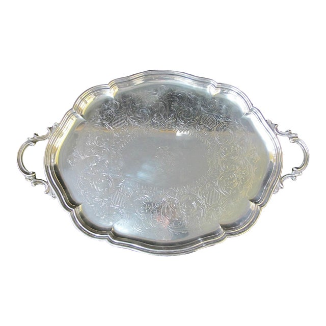 Early 20th Century English Sheffield Silver Plated Serving Tray Platter Hand Chased W/Coat of Arms For Sale