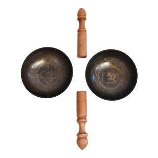 Late 20th Century Pair Tibetan Singing Bowls With Flaring Sides - 4 Pieces For Sale