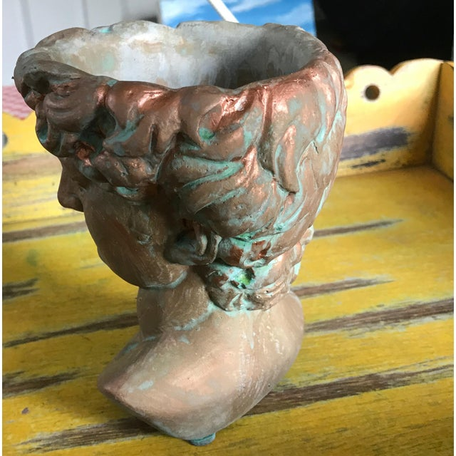 Arts & Crafts Michelangelo's David Bust Copper Patina Indoor Outdoor Head Planter For Sale - Image 3 of 8