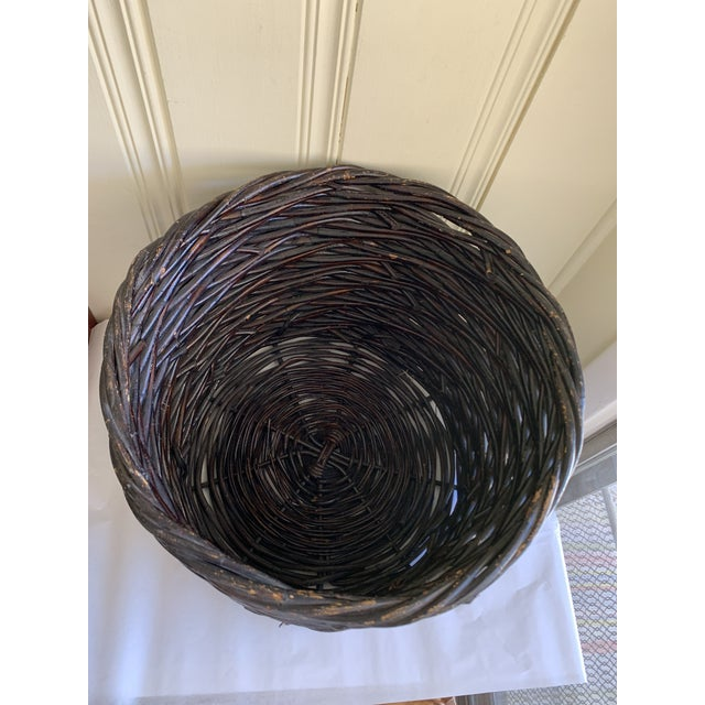Wood Large Rustic Earthy Wood Decor Storage Basket For Sale - Image 7 of 10