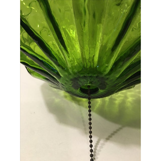 Mid-Century Green Glass Hanging Swag Lamp - Image 7 of 7