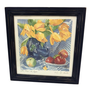 Framed Yellow Tulips With Apples Still Life Print Signed Amelia Rose Smith For Sale