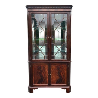 Stickley Inlaid Flame Mahogany Corner Cabinet For Sale