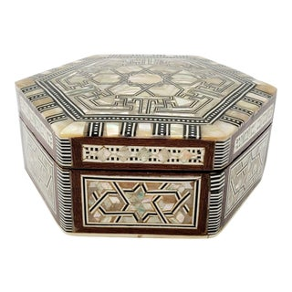 Vintage Abalone Shell and Wood Box For Sale
