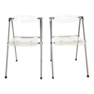 Mid Century Modern Pair Italian Lucite Folding Chairs Attr G. Piretti for Castelli For Sale