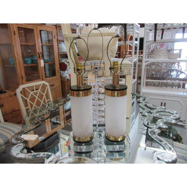 Brass & Lucite Bauer Lamps - A Pair - Image 6 of 8