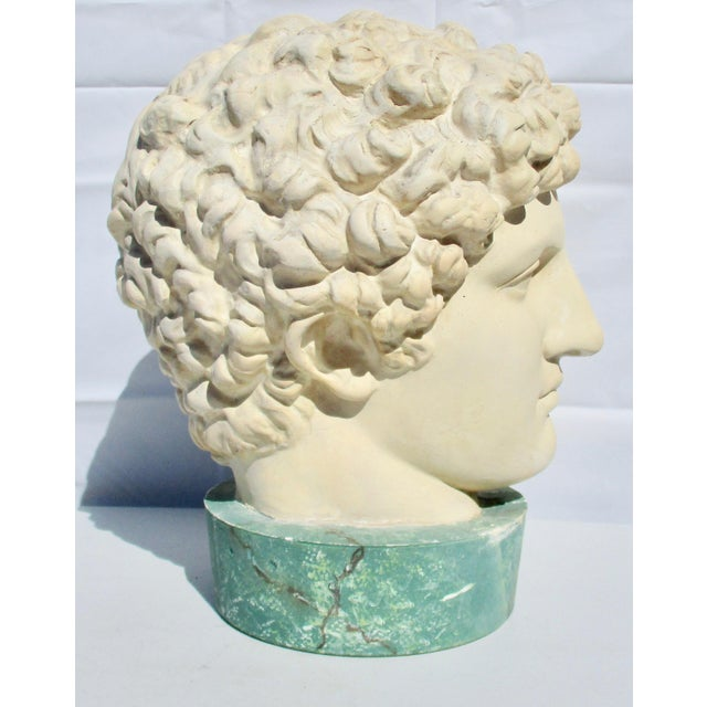 Traditional 1980s Neoclassical Head of Greek Youth in Plaster Sculpture For Sale - Image 3 of 8