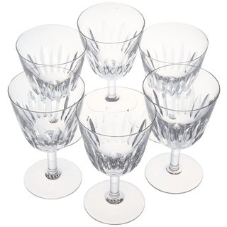 Set of Six Baccarat Crystal 'Lorraine' Pattern Red Wine Glasses, Circa 1950s For Sale