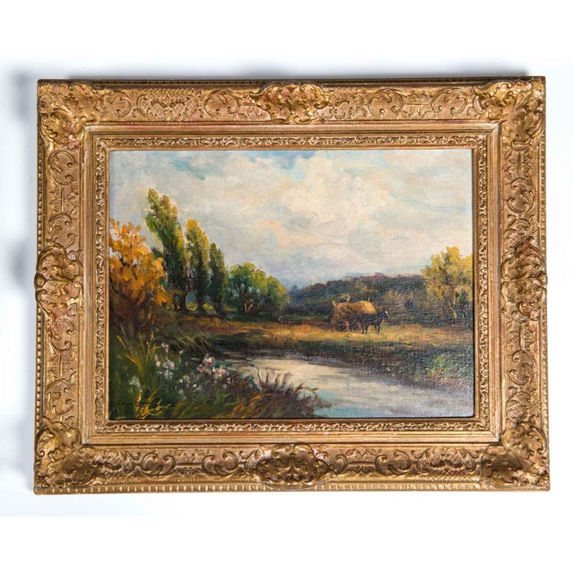 Impressionism Late 19th Century Oil Painting on Board With Giltwood Frame - a Pair For Sale - Image 3 of 13