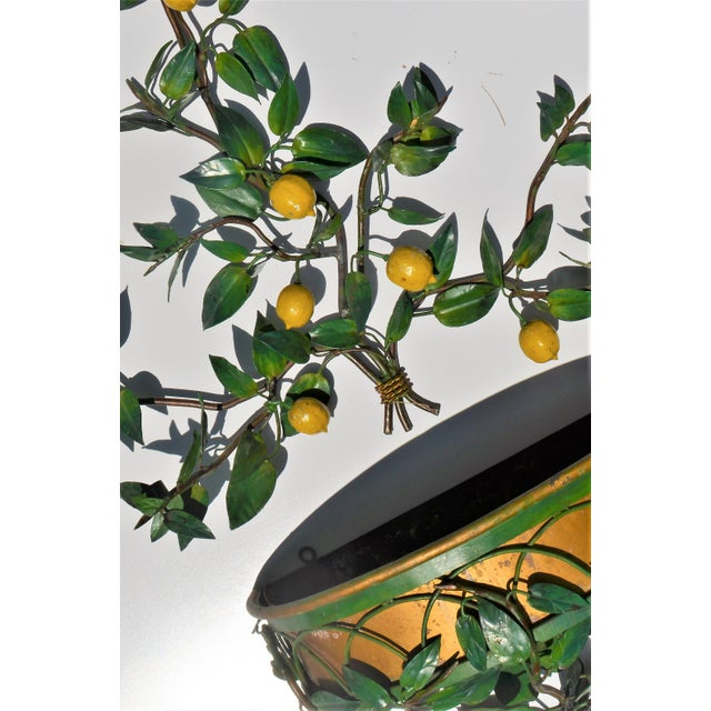 Vintage Italian Tole Lemon Tree Wall Sconce With Planter For Sale - Image 4 of 10