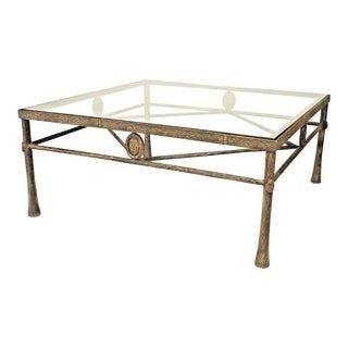 Postwar Design 'Giacometti Style' Dark Bronze Patina Coffee Table For Sale